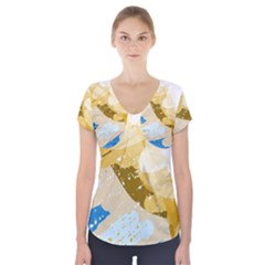 Artistic Pastel Pattern Short Sleeve Front Detail Top