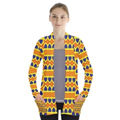 Hearts And Rhombus Pattern       Women s Open Front Pockets Cardigan
