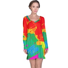 Colorful Abstract Design Long Sleeve Nightdress by Valentinaart