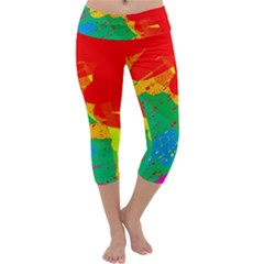 Colorful Abstract Design Capri Yoga Leggings by Valentinaart