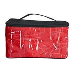 Red Pattern Cosmetic Storage Case by Valentinaart