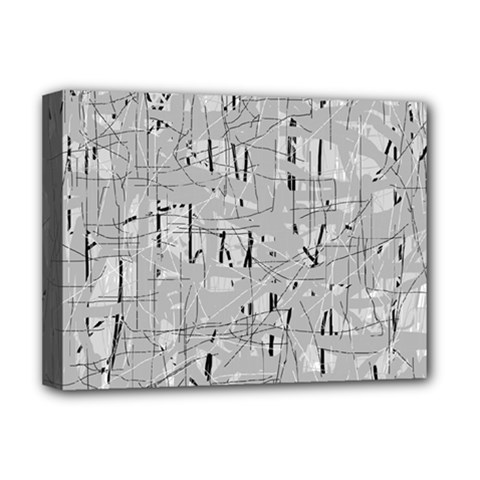 Gray Pattern Deluxe Canvas 16  X 12   by Valentinaart