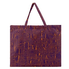 Purple Pattern Zipper Large Tote Bag