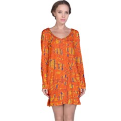 Orange Pattern Long Sleeve Nightdress by Valentinaart