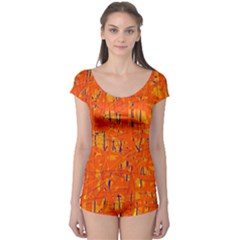 Orange Pattern Boyleg Leotard  by Valentinaart