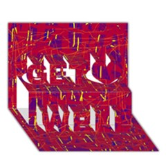 Red And Blue Pattern Get Well 3d Greeting Card (7x5)