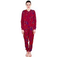 Red And Blue Pattern Onepiece Jumpsuit (ladies)  by Valentinaart