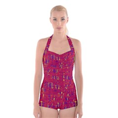 Red And Blue Pattern Boyleg Halter Swimsuit  by Valentinaart