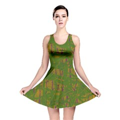 Green Pattern Reversible Skater Dress by Valentinaart