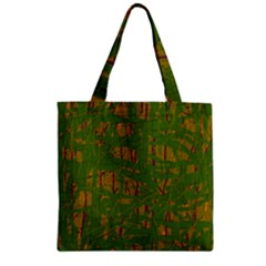 Green Pattern Zipper Grocery Tote Bag