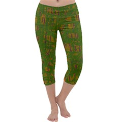 Green Pattern Capri Yoga Leggings by Valentinaart