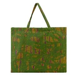 Green Pattern Zipper Large Tote Bag by Valentinaart