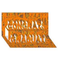 Orange Pattern Congrats Graduate 3d Greeting Card (8x4)  by Valentinaart