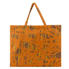 Orange Pattern Zipper Large Tote Bag by Valentinaart