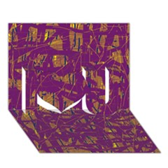 Purple Pattern I Love You 3d Greeting Card (7x5)