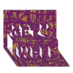 Purple Pattern Get Well 3d Greeting Card (7x5)