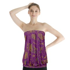 Purple Pattern Strapless Top