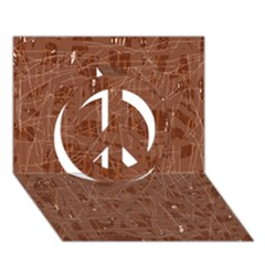 Brown Pattern Peace Sign 3d Greeting Card (7x5)  by Valentinaart