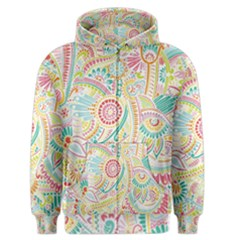 Hippie Flowers Pattern, Pink Blue Green, Zz0101 Men s Zipper Hoodie by Zandiepants