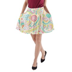 Hippie Flowers Pattern, Pink Blue Green, Zz0101 A Line Pocket Skirt by Zandiepants