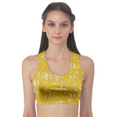 Yellow Pattern Sports Bra by Valentinaart