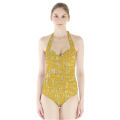 Yellow Pattern Halter Swimsuit by Valentinaart