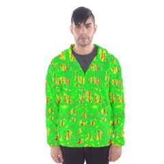 Neon Green Pattern Hooded Wind Breaker (men)