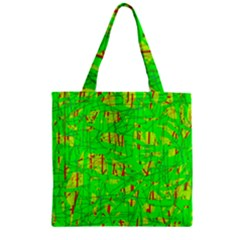 Neon Green Pattern Zipper Grocery Tote Bag by Valentinaart