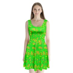 Neon Green Pattern Split Back Mini Dress