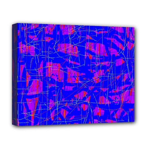 Blue Pattern Deluxe Canvas 20  X 16   by Valentinaart