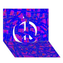 Blue Pattern Peace Sign 3d Greeting Card (7x5)
