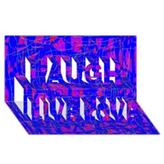 Blue Pattern Laugh Live Love 3d Greeting Card (8x4)