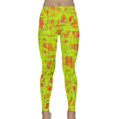 Yellow And Orange Pattern Yoga Leggings  by Valentinaart