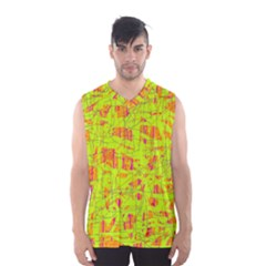 Yellow And Orange Pattern Men s Basketball Tank Top by Valentinaart