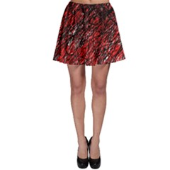 Red And Black Pattern Skater Skirt by Valentinaart