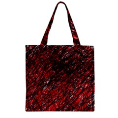 Red And Black Pattern Zipper Grocery Tote Bag by Valentinaart
