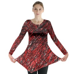 Red And Black Pattern Long Sleeve Tunic  by Valentinaart