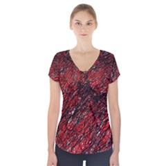 Red And Black Pattern Short Sleeve Front Detail Top by Valentinaart