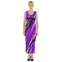Purple Pattern Fitted Maxi Dress by Valentinaart