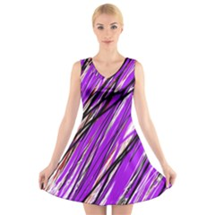 Purple Pattern V Neck Sleeveless Skater Dress