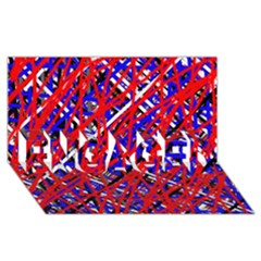 Red And Blue Pattern Engaged 3d Greeting Card (8x4)