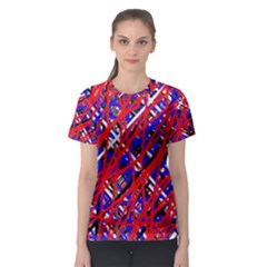 Red And Blue Pattern Women s Sport Mesh Tee by Valentinaart