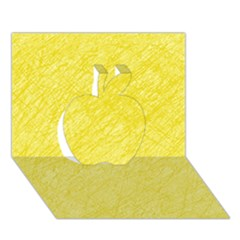 Yellow Pattern Apple 3d Greeting Card (7x5)  by Valentinaart