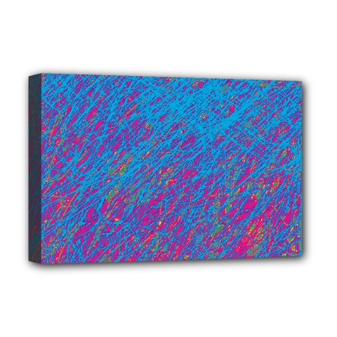 Blue Pattern Deluxe Canvas 18  X 12   by Valentinaart