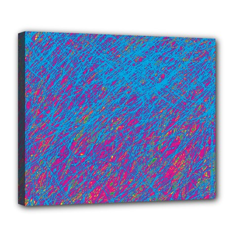 Blue Pattern Deluxe Canvas 24  X 20   by Valentinaart
