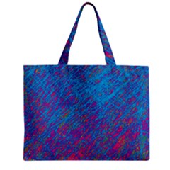 Blue Pattern Zipper Mini Tote Bag by Valentinaart