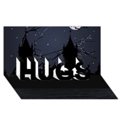 Dark Scene Illustration Hugs 3d Greeting Card (8x4)  by dflcprints