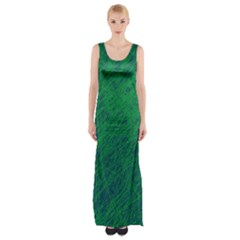 Deep Green Pattern Maxi Thigh Split Dress by Valentinaart