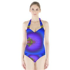 Into The Blue Fractal Halter Swimsuit by Fractalsandkaleidoscopes