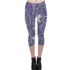 Purple Hippie Flowers Pattern, Zz0102, Capri Leggings  by Zandiepants
